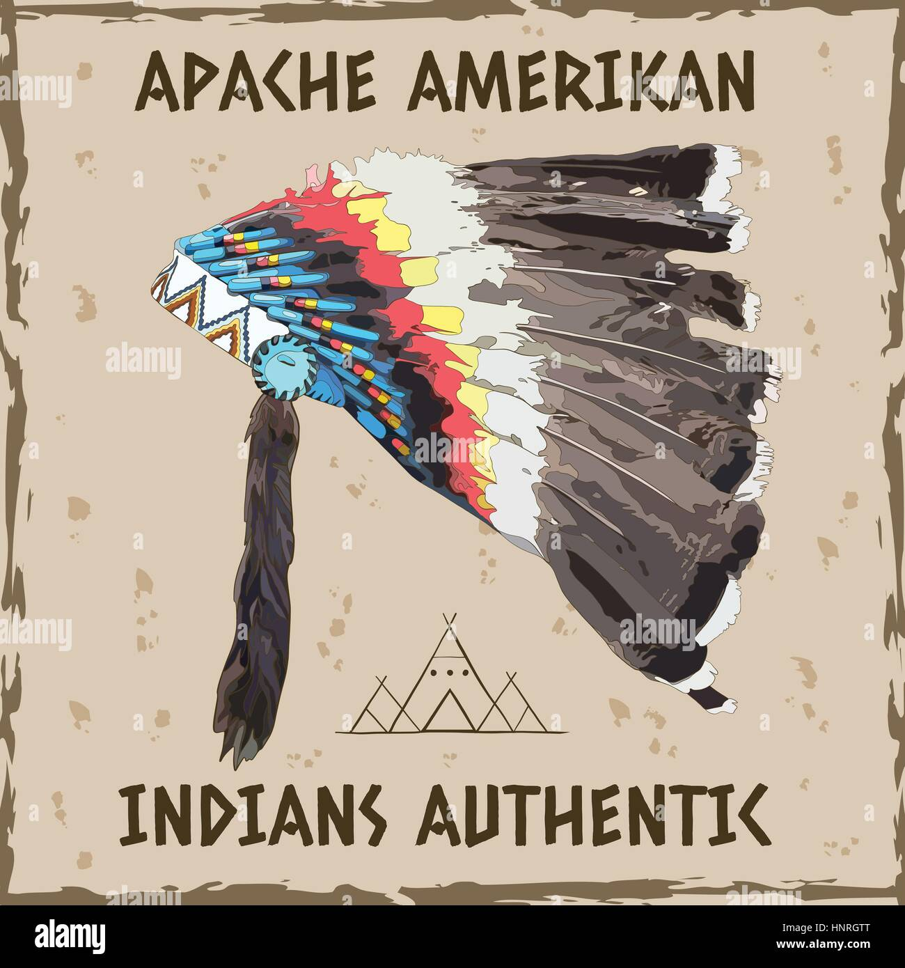 Vector illustration, hand drawing of a headdress Indian chief - Stock Image