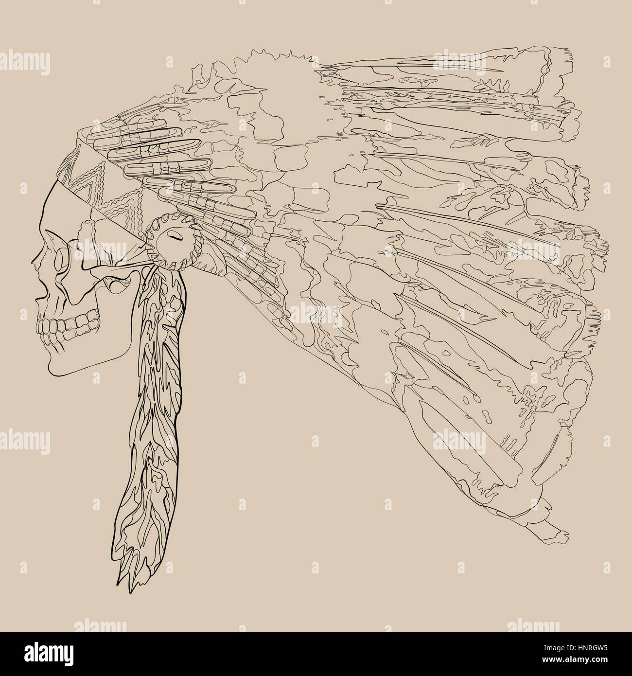 Vector illustration, hand drawing of a human skull in a headdress Indian chief - Stock Image