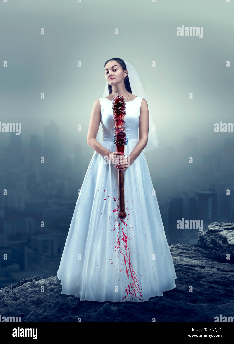 Young bride in white wedding dress with bloody baseball bat, foggy ...