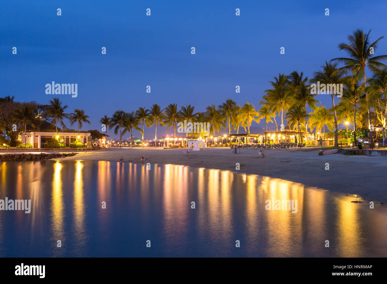 Luxury Tropical Beach Resort At Night In Kota Kinabalu