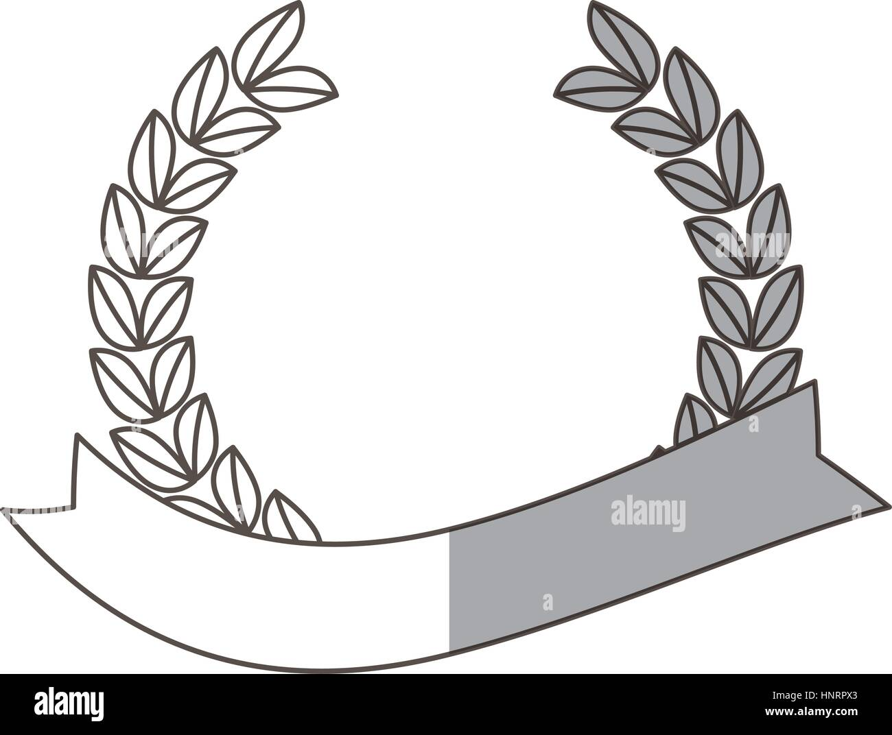 laurel wreath decorative banner with shadow vector illustration eps 10 - Stock Image