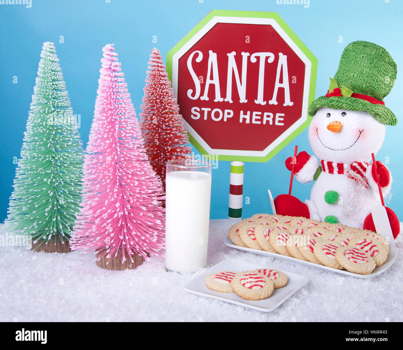 Candy Cane Christmas Tree Decoration Santa Please Stop Here For Name Xmas Sign