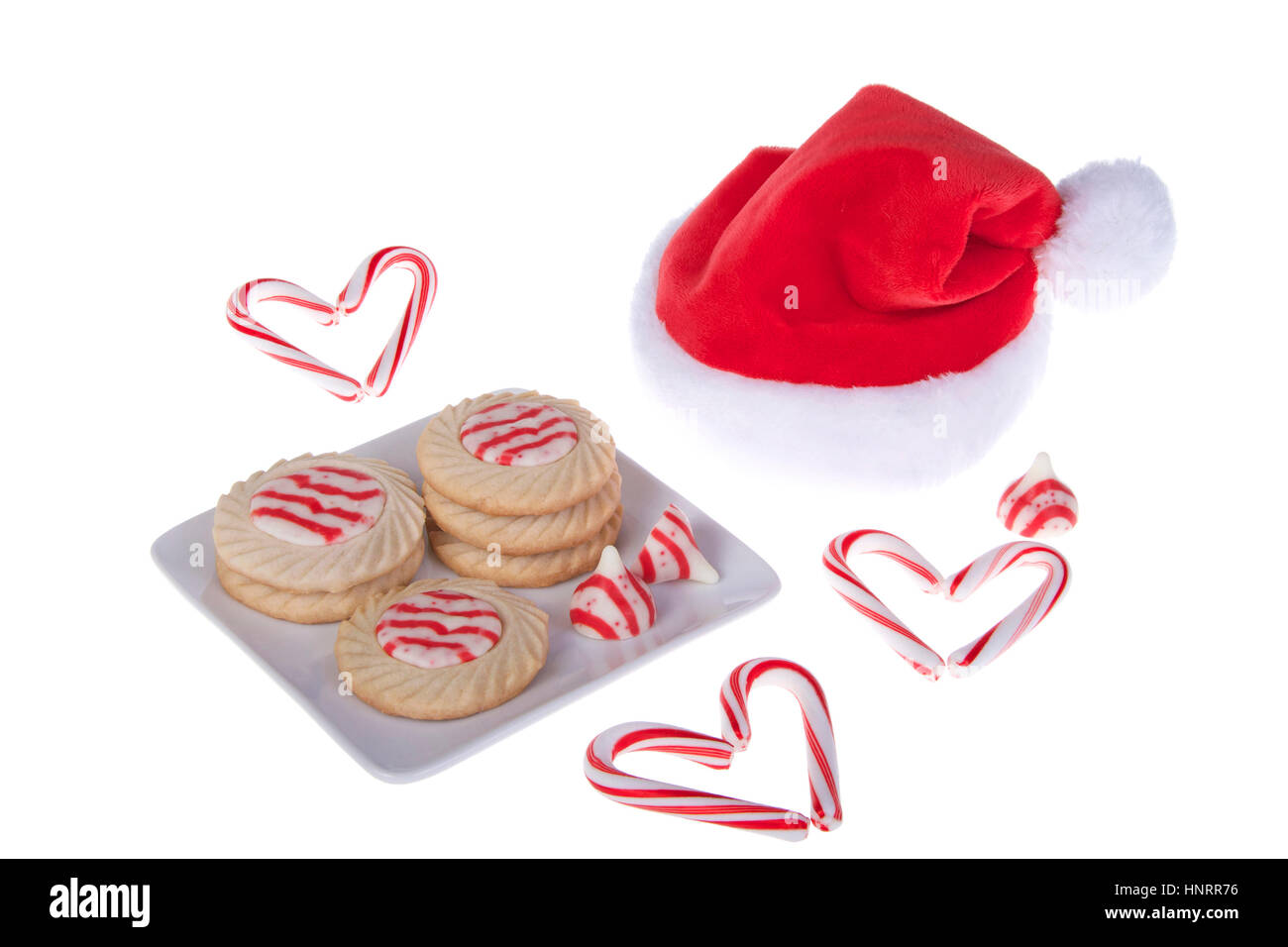 Home Made Candy Cane Stripped Peppermint Flavor Sugar Cookies On A