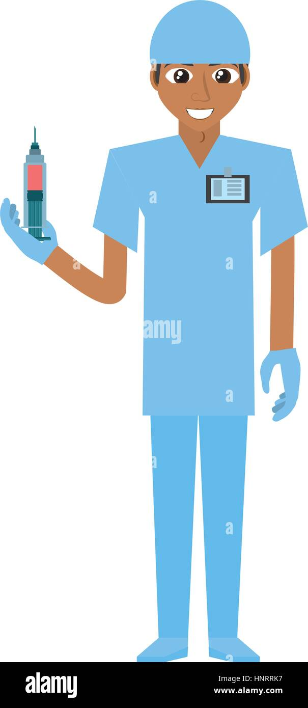 nurse male suit gloves and syringe vector illustration eps 10 - Stock Vector