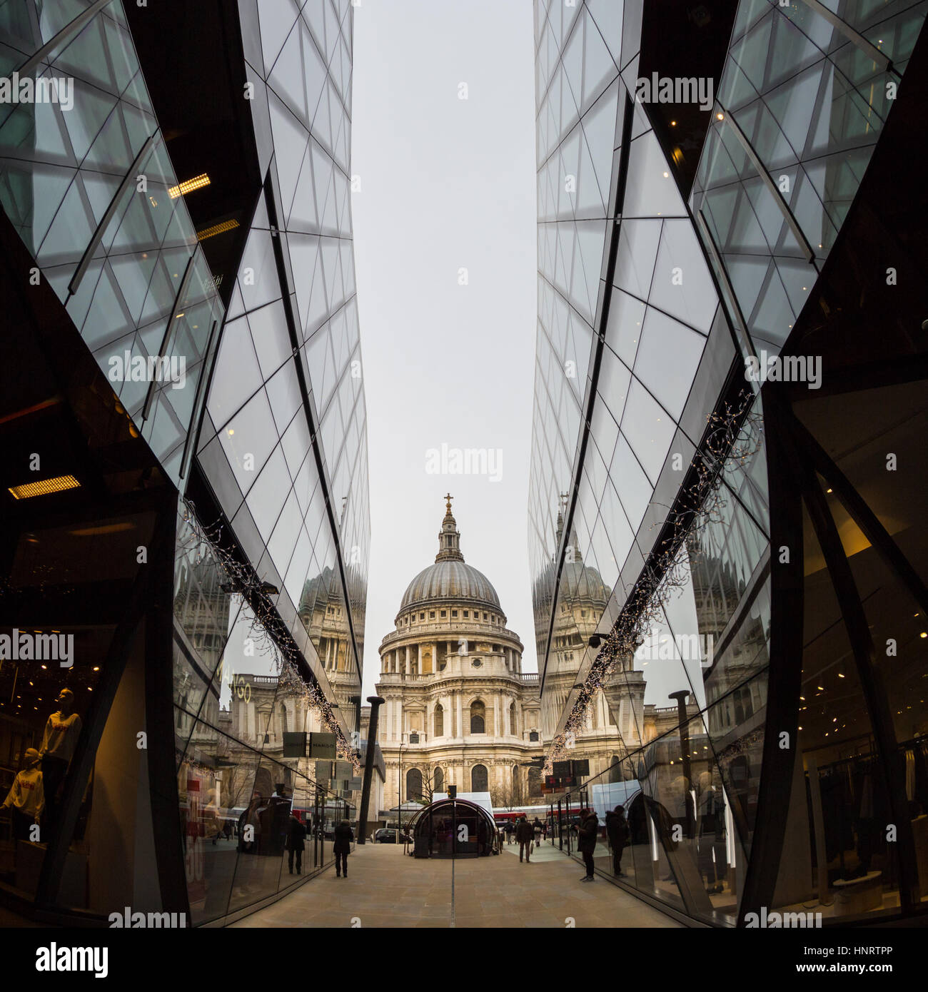 St Pauls Cathedral view and reflections seen from One New Change, London, UK - Stock Image