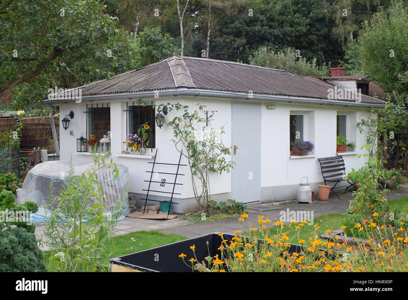 Kleingarten Colonies comprise weekend cottages on small allotments in the city, popular with people whose main home Stock Photo