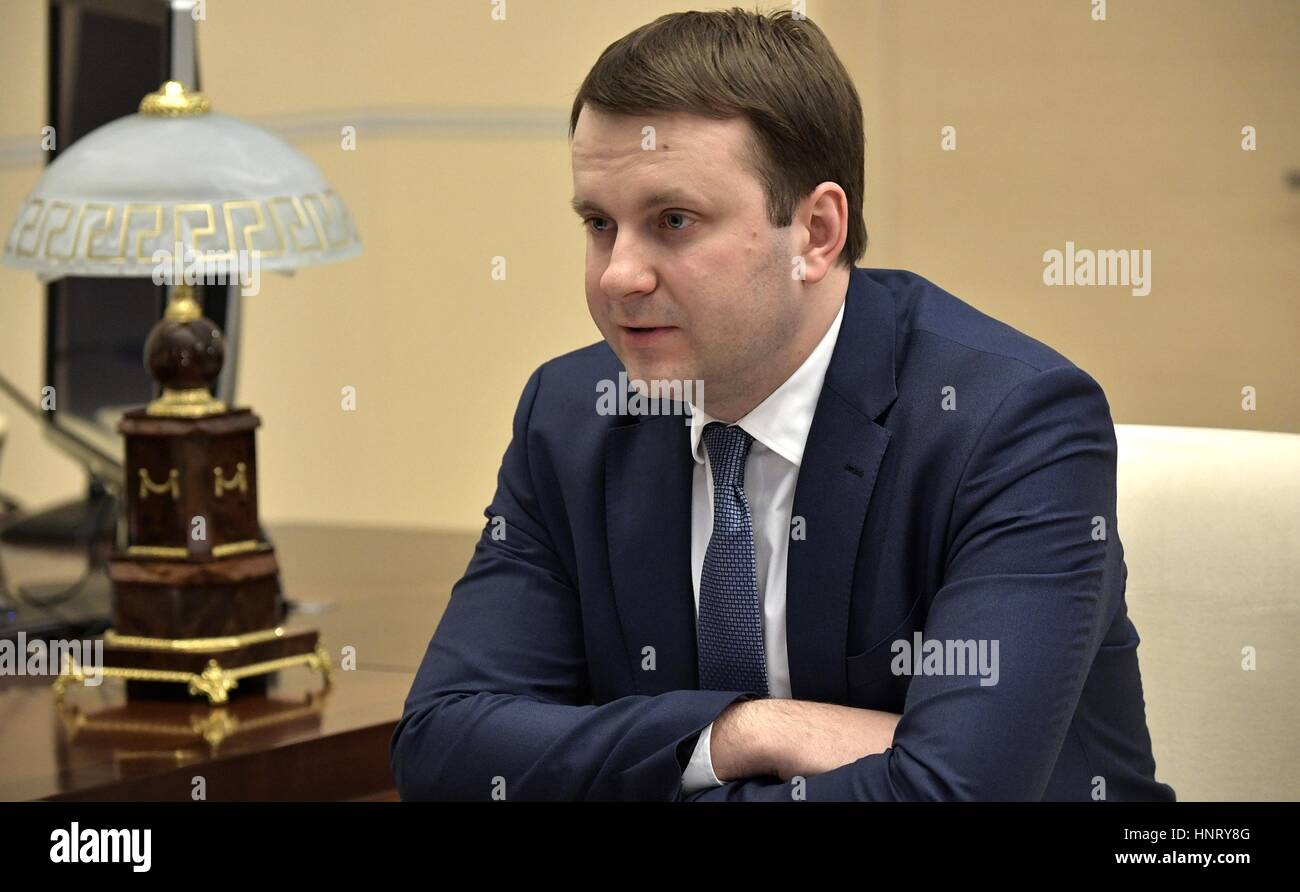 Russian Economic Development Minister Maxim Oreshkin during a meeting with Russian President Vladimir Putin at the - Stock Image
