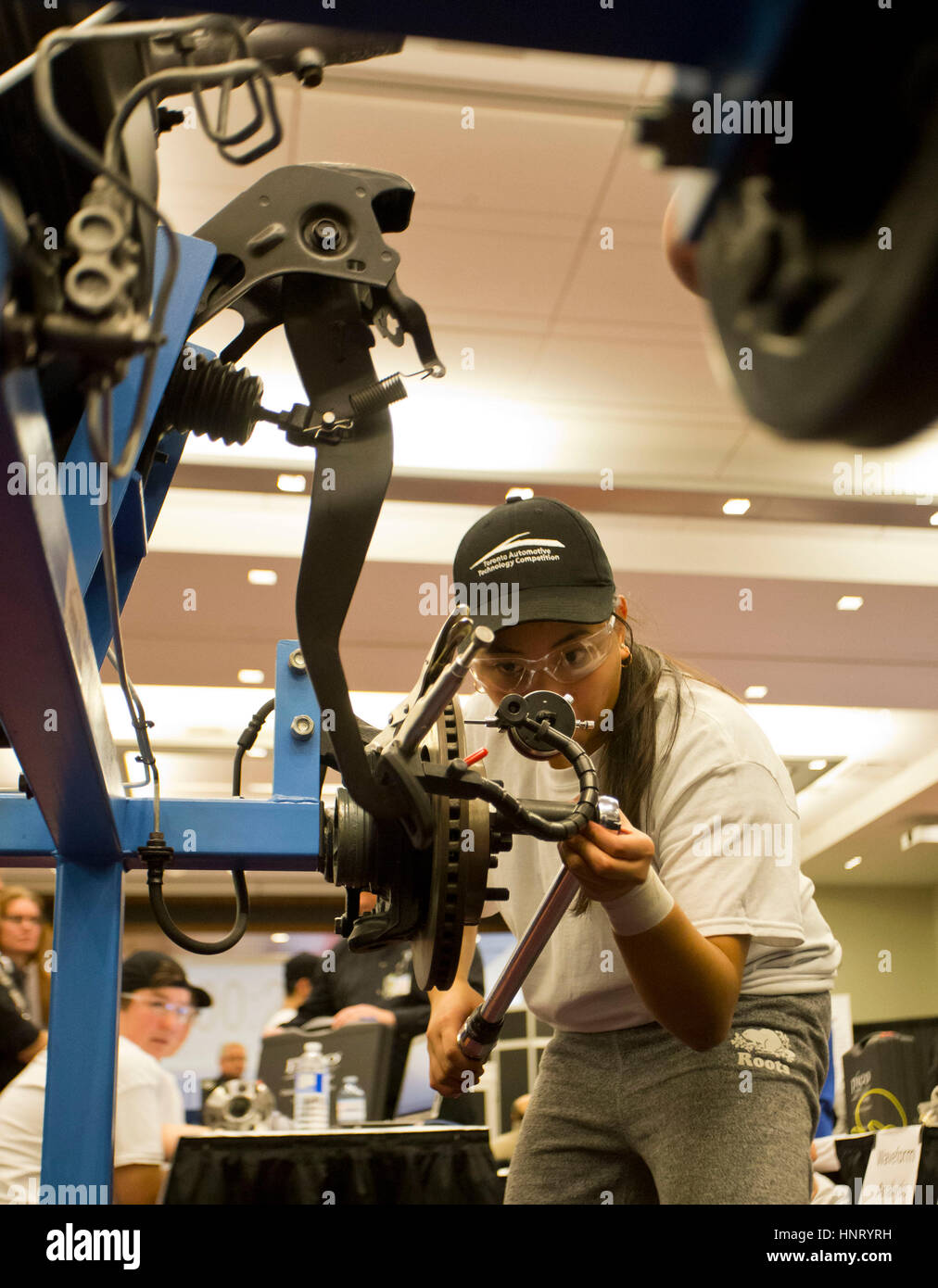 Toronto, Canada. 15th Feb, 2017. A competitor takes a brake system test during the 2017 Toronto Automotive Technology - Stock Image