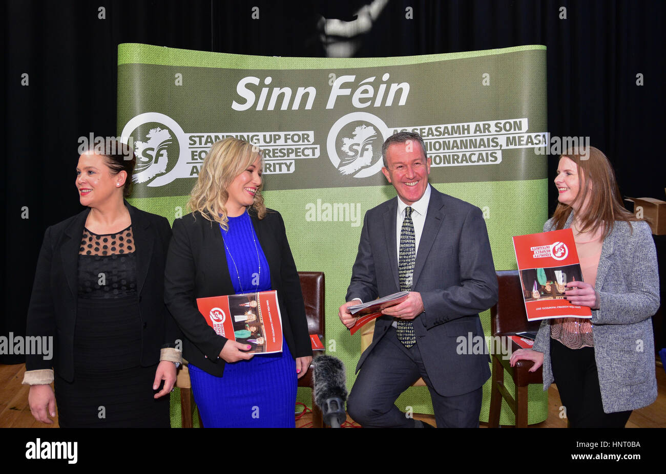 Armagh City, UK. 15th February 2017. Sinn Féin Party members Mary Lou McDonald TD, Party Leader Michelle O'Neill, - Stock Image