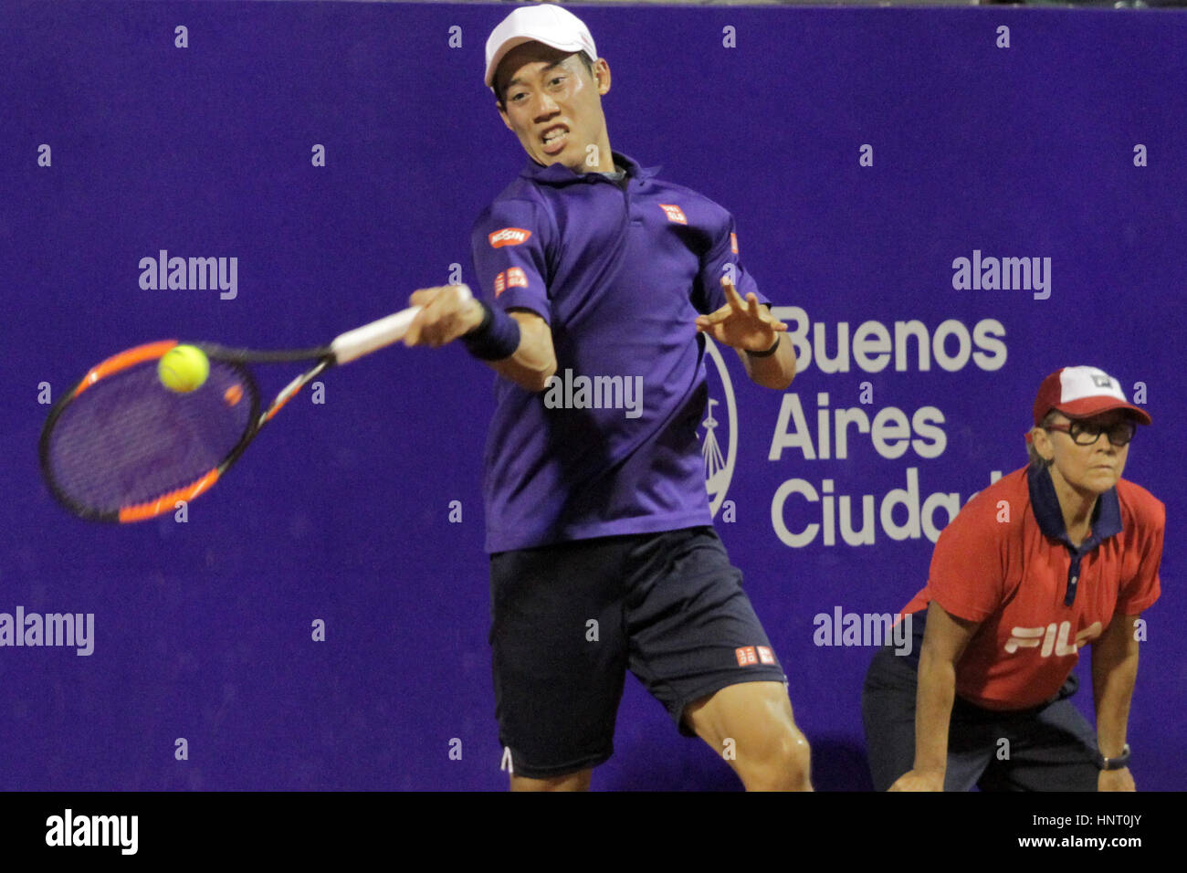 Buenos Aires, Argentina. 15th February 2017. Japanese player Key Nishikori during the game for main draw of Buenos - Stock Image