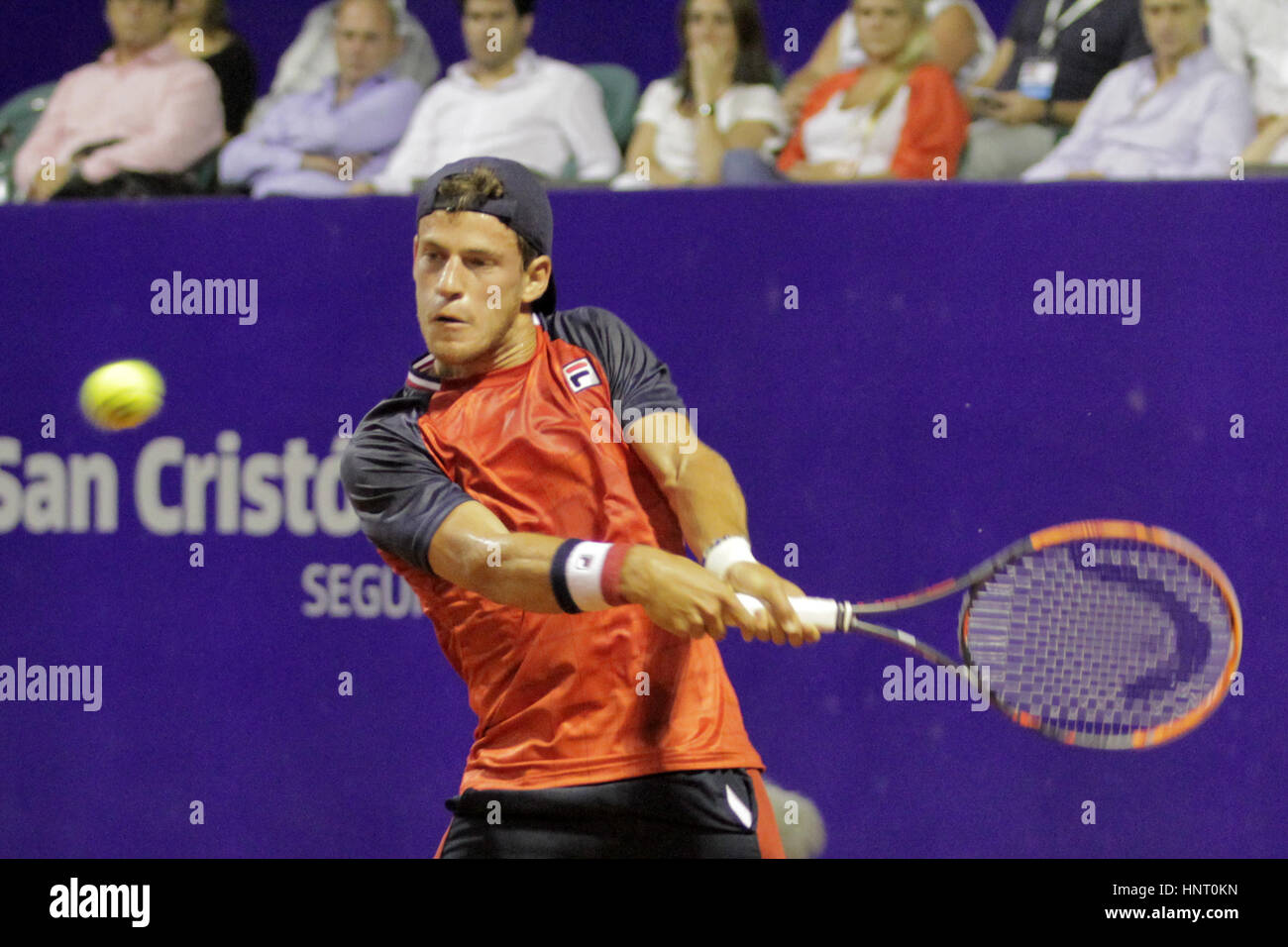 Buenos Aires, Argentina. 15th February 2017.  Argentinian player Diego Schwartzman during the game for main draw - Stock Image