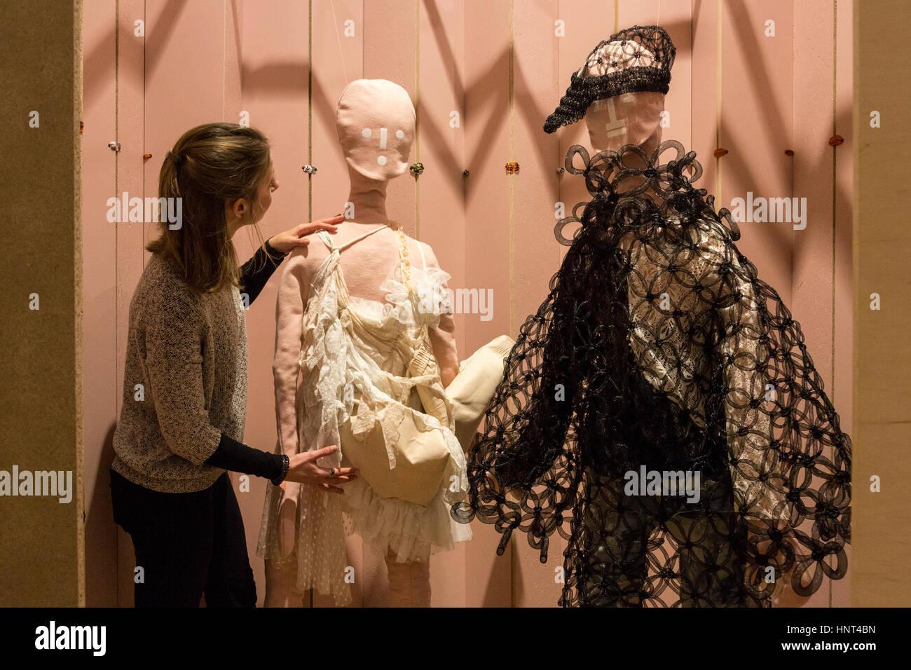 London, UK. 16th Feb, 2017. Pictured: The Polish designers' Kasia Kwiatkowska & Natasza Rogozinska and Anna - Stock Image