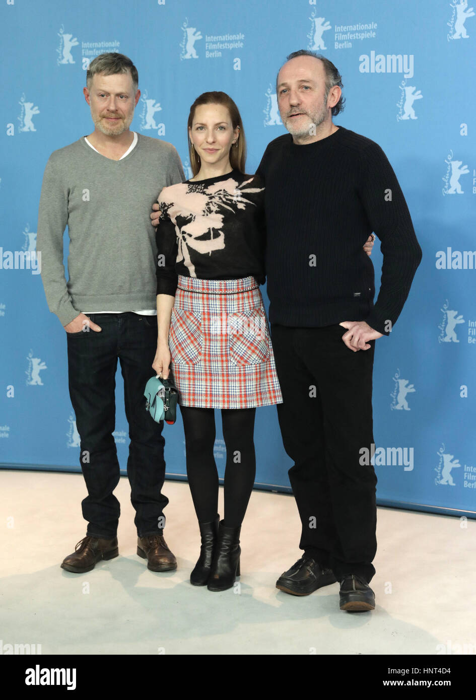 Berlin, Germany. 16th Feb, 2017. L-R: Actors Andreas Lust, Katharina Schuettler and Karl Markovics at the 67th Berlinale - Stock Image