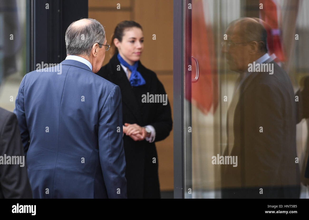 Bonn, Germany. 16th Feb, 2017. The Russian foreign minister Sergey Lavrov arrives at the G20 meeting of foreign - Stock Image