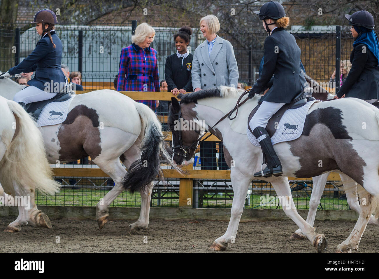 London, UK. 16th February 2017. Watching the riding display - The Duchess of Cornwall, President, Ebony Horse Club, - Stock Image