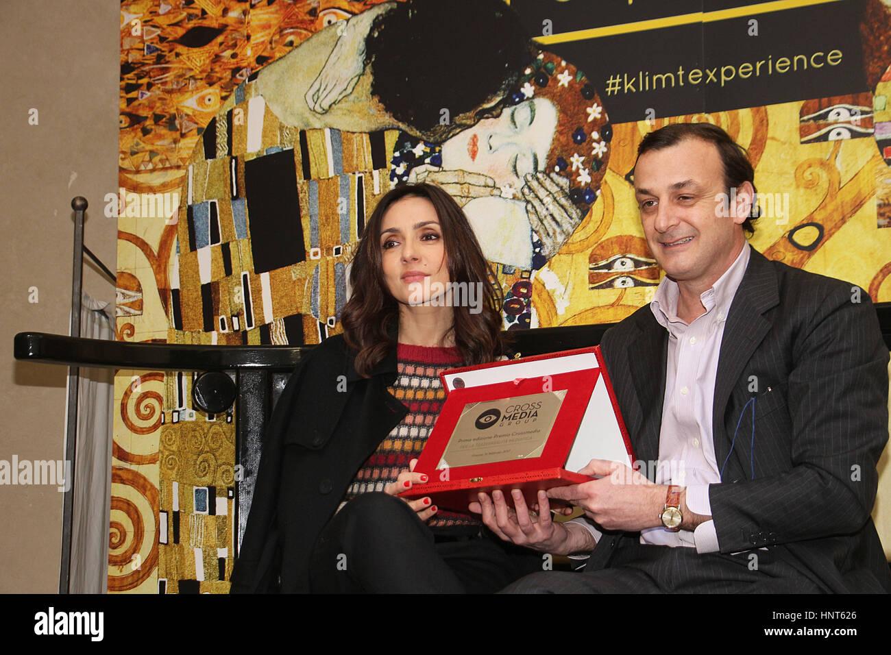 Florence, Italy. 16th Feb, 2017. President of crossmedia Federico Dalgas presents the award crossmedia 2017 actress - Stock Image