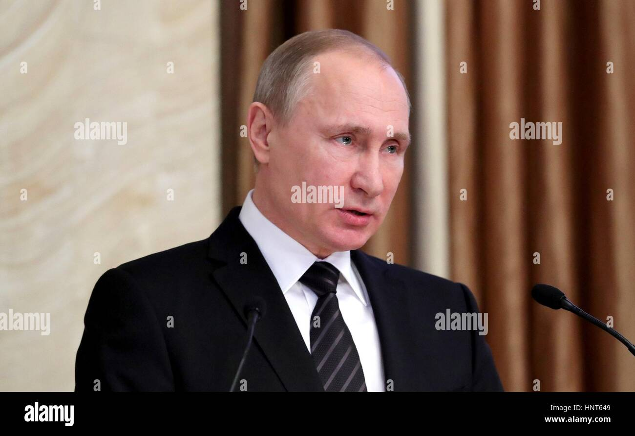 Moscow, Russia. 16th Feb, 2017. Russian President Vladimir Putin addresses a meeting of the Federal Security Service - Stock Image