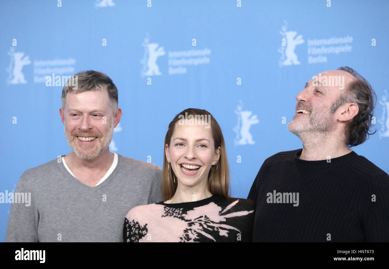 Berlin, Germany. 16th Feb, 2017. Actors Andreas Lust (l), Katharina Schuettler and Karl Markovics at the 67th Berlinale - Stock Image