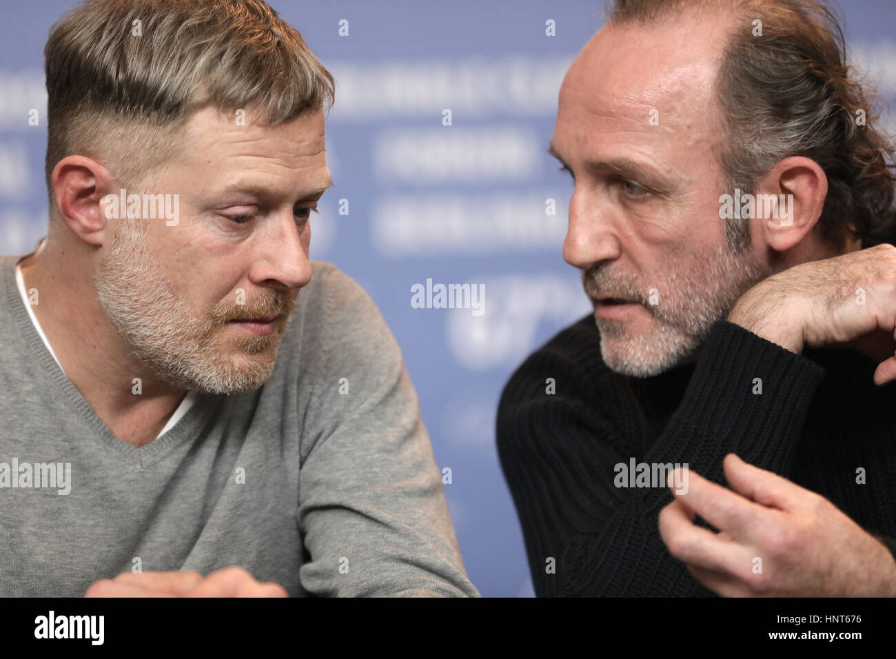 Berlin, Germany. 16th Feb, 2017. Actors Andreas Lust (l) and Karl Markovics at the 67th Berlinale Film Festival - Stock Image