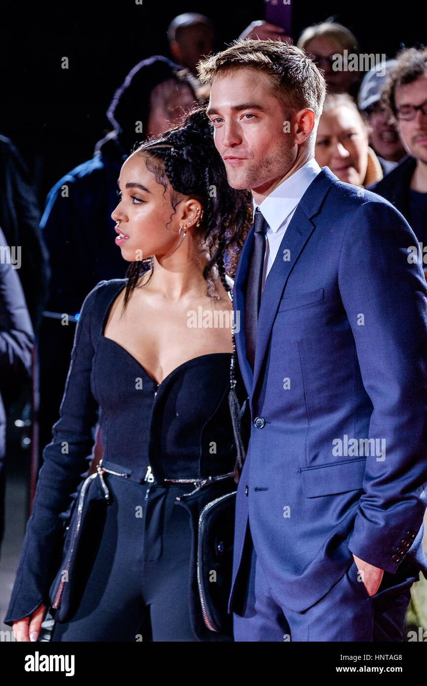 London, UK. 16th February 2017. Robert Pattinson and FKA Twigs arrives at the UK Premiere of the Lost City of Z - Stock Image