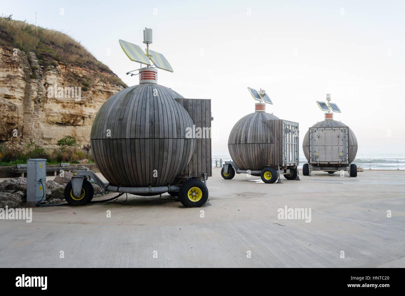 'Roker Pods' (Moveable Multi-use Containers Using Renewable Energy) located at Holey Rock, Roker, Sunderland - Stock Image