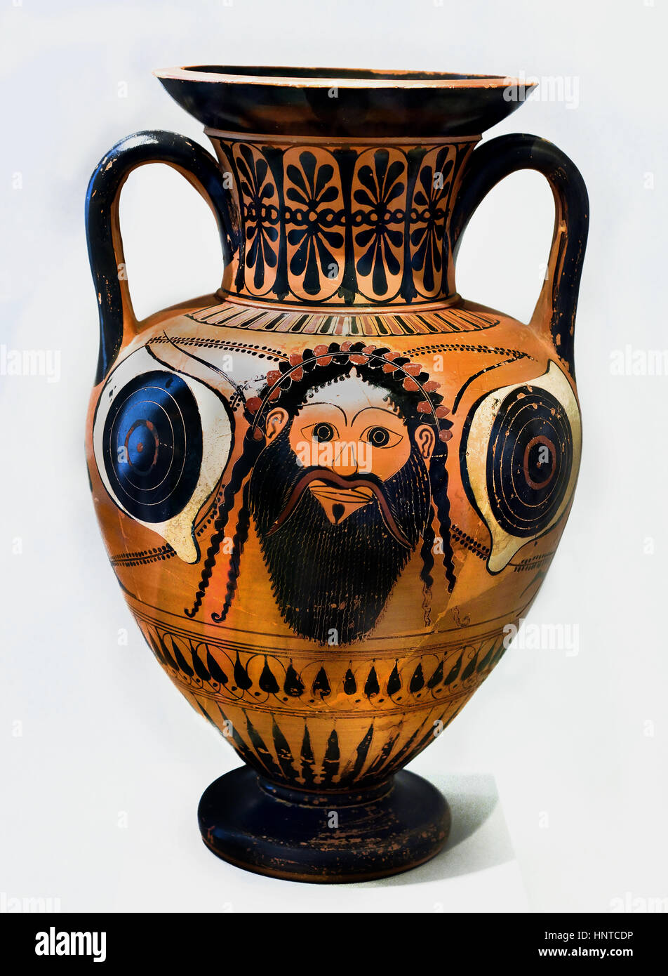 Cult Mask of Dionysus 520 BC  Antimenes Painter Greek,Greece. - Stock Image