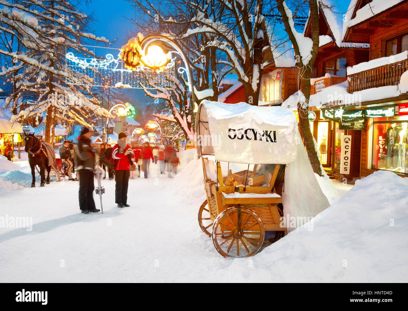 Winter city scene in Zakopane Village, Poland - Stock Image