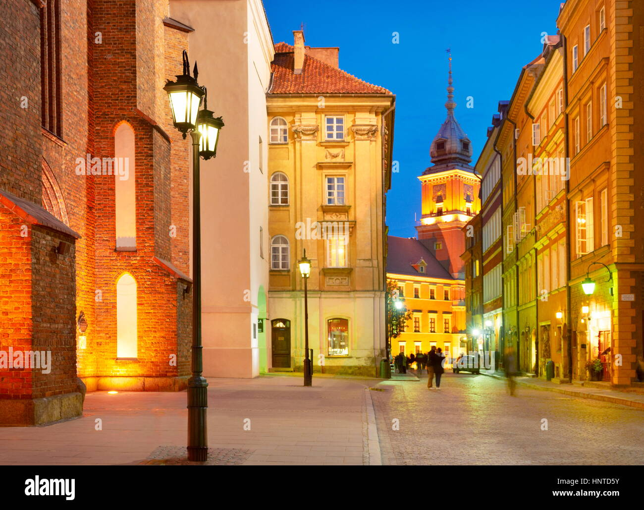 Warsaw Old Town at evening time, Poland, Europe - Stock Image