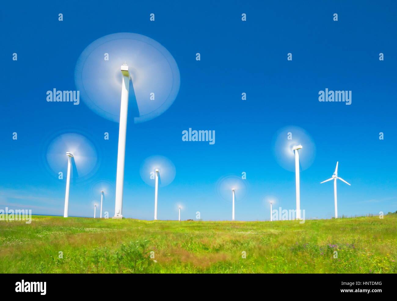Moving wind turbine, wind farm, Pomerania, Poland - Stock Image