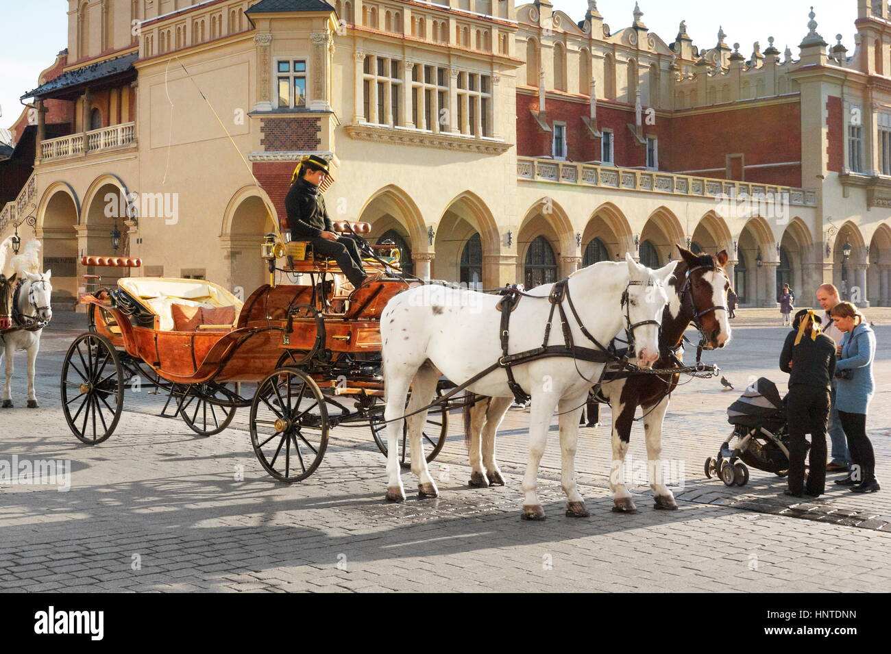 Horse Carriage waiting for tourists, Crackow, Poland - Stock Image
