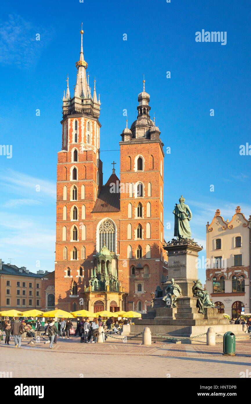 Cracow - St Mary's Church, Market Square, Poland - Stock Image