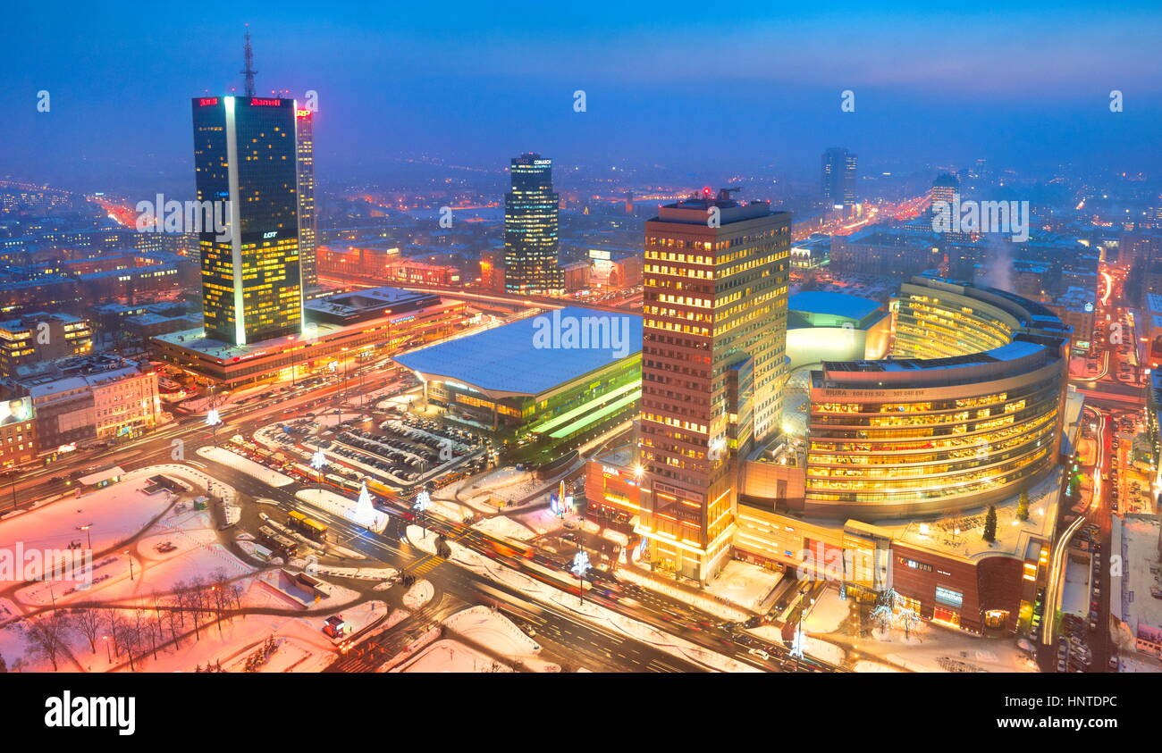 Aerial view of Warsaw, Poland - Stock Image