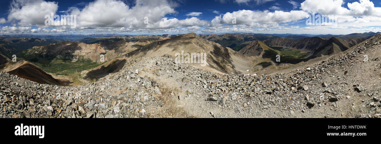 panorama from the summit of Grays Mountain in Colorado - Stock Image