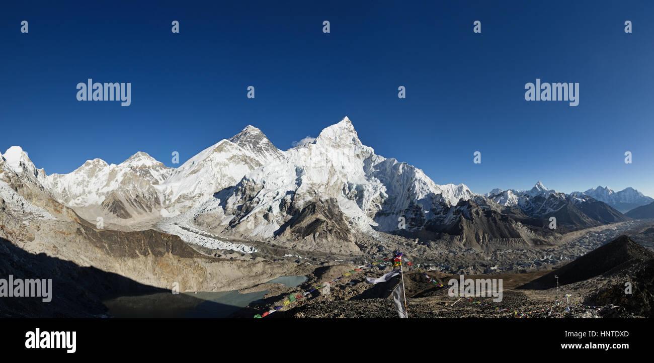 Himalayan  panorama from Kala Patthar including Everest Nuptse and Ama Dablam - Stock Image