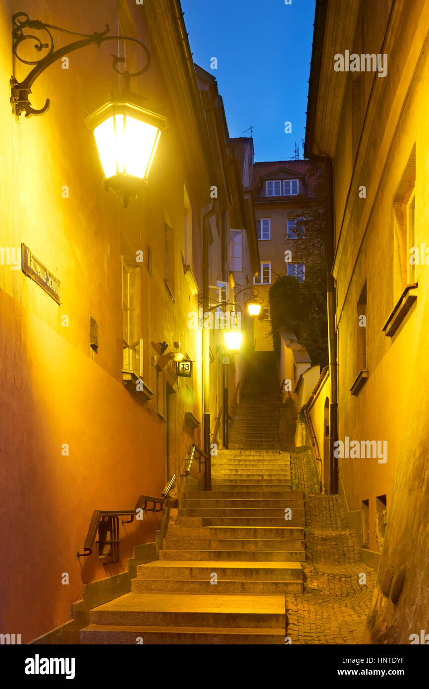 Warsaw Old Town at evening time, Poland, Unesco Stock Photo