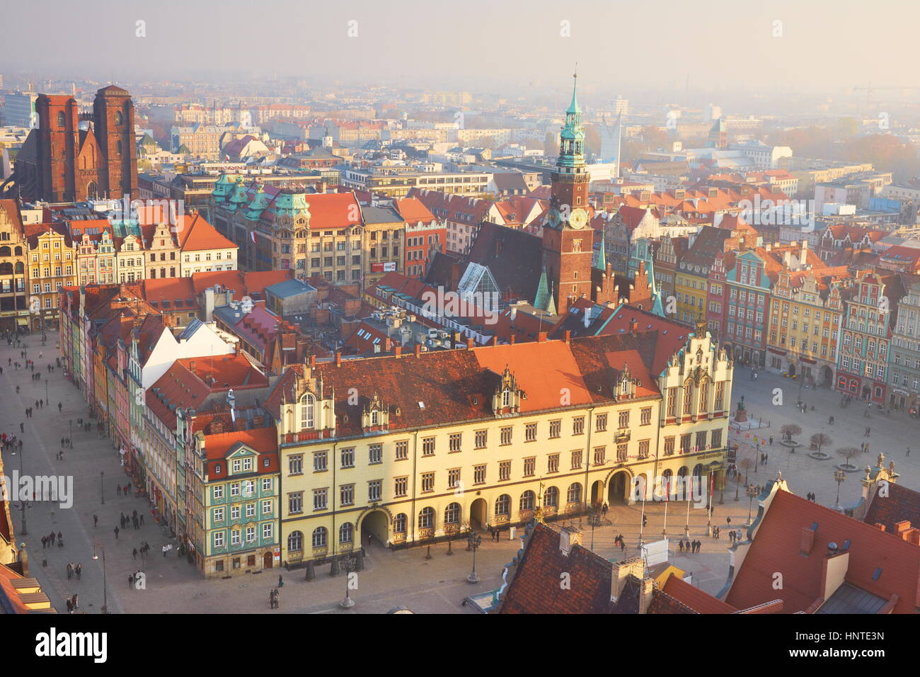 Aerial view of Wroclaw Market Square, Wroclaw, Poland, Europe - Stock Image