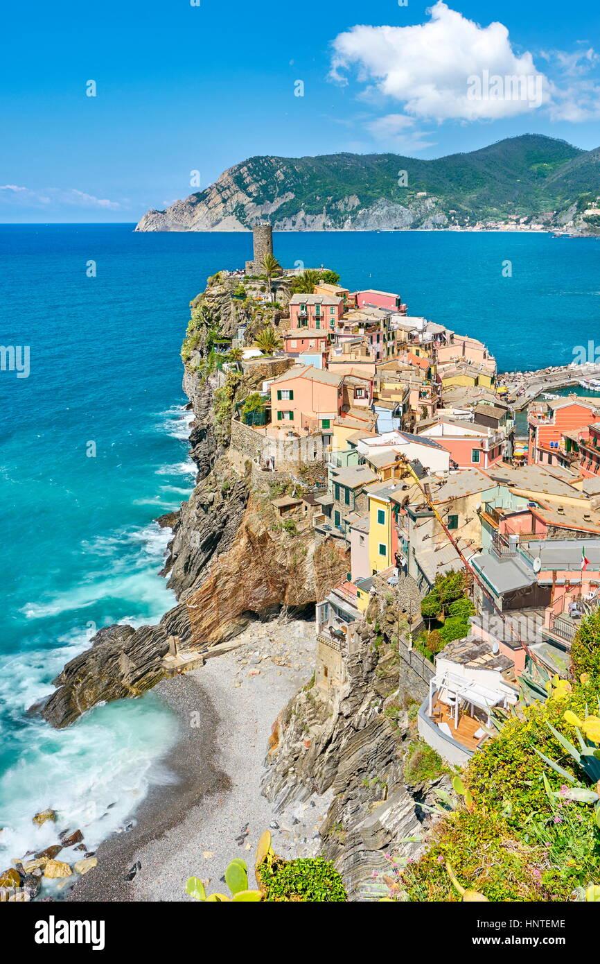 Vernazza, Riviera de Levanto, Cinque Terre, Liguria, Italy - Stock Image