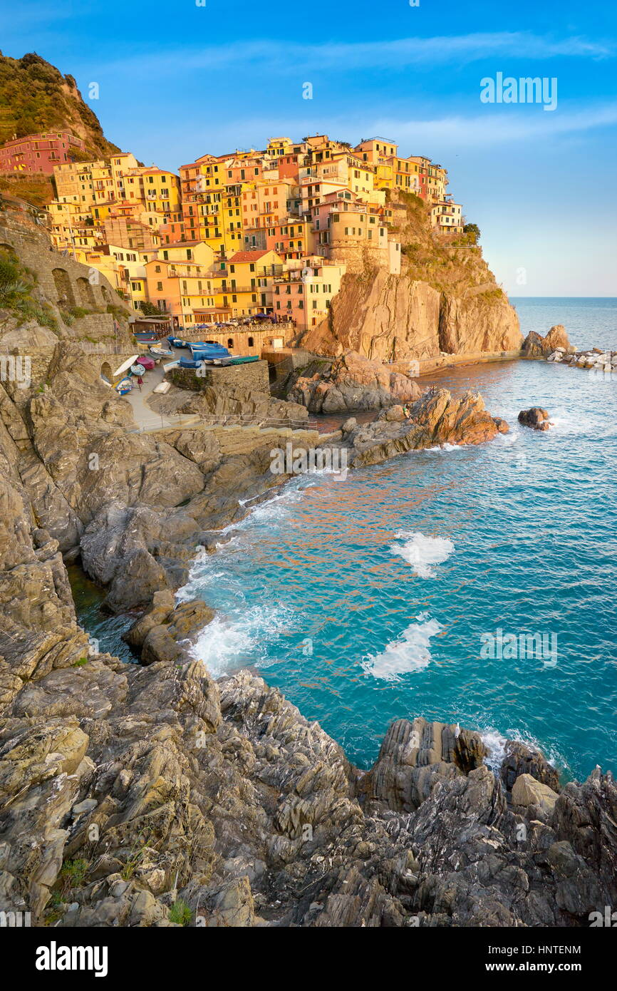 Manarola at sunset time, Cinque Terre, Liguria, Italy - Stock Image