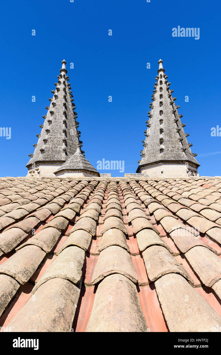 Architectural detail of the twin turrets of the Palais Neuf, Palais des Papes, Avignon, France - Stock Image
