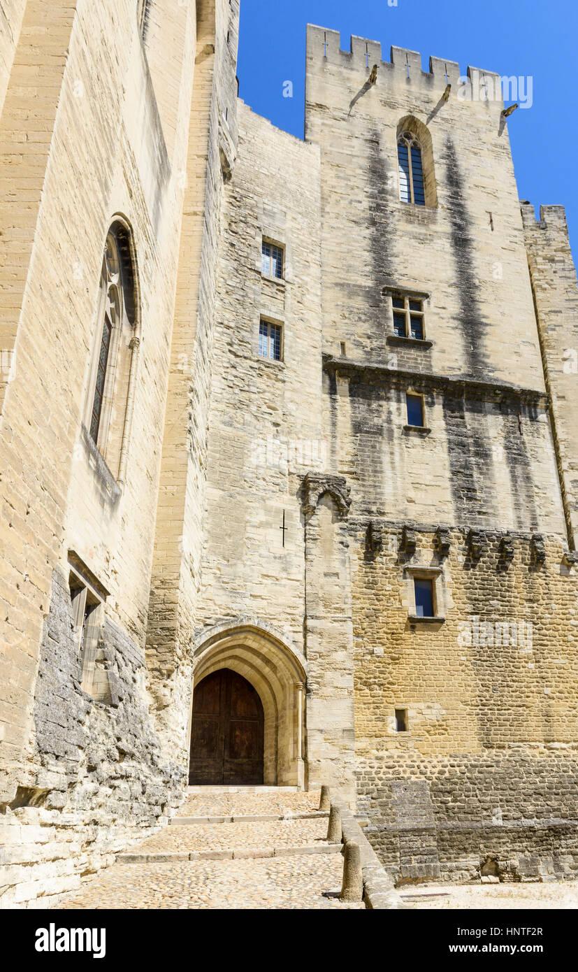 Looking up at the Tour de la Garde-Robe, Palais Neuf, Palais des Papes, Avignon, France - Stock Image