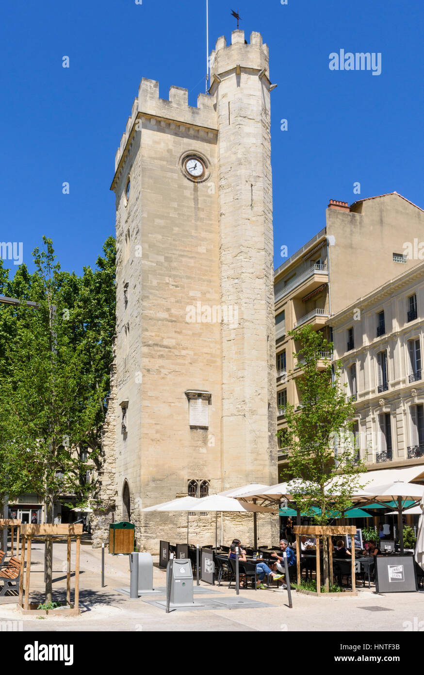 The Tower of Saint John in Place Pie, Avignon, France - Stock Image