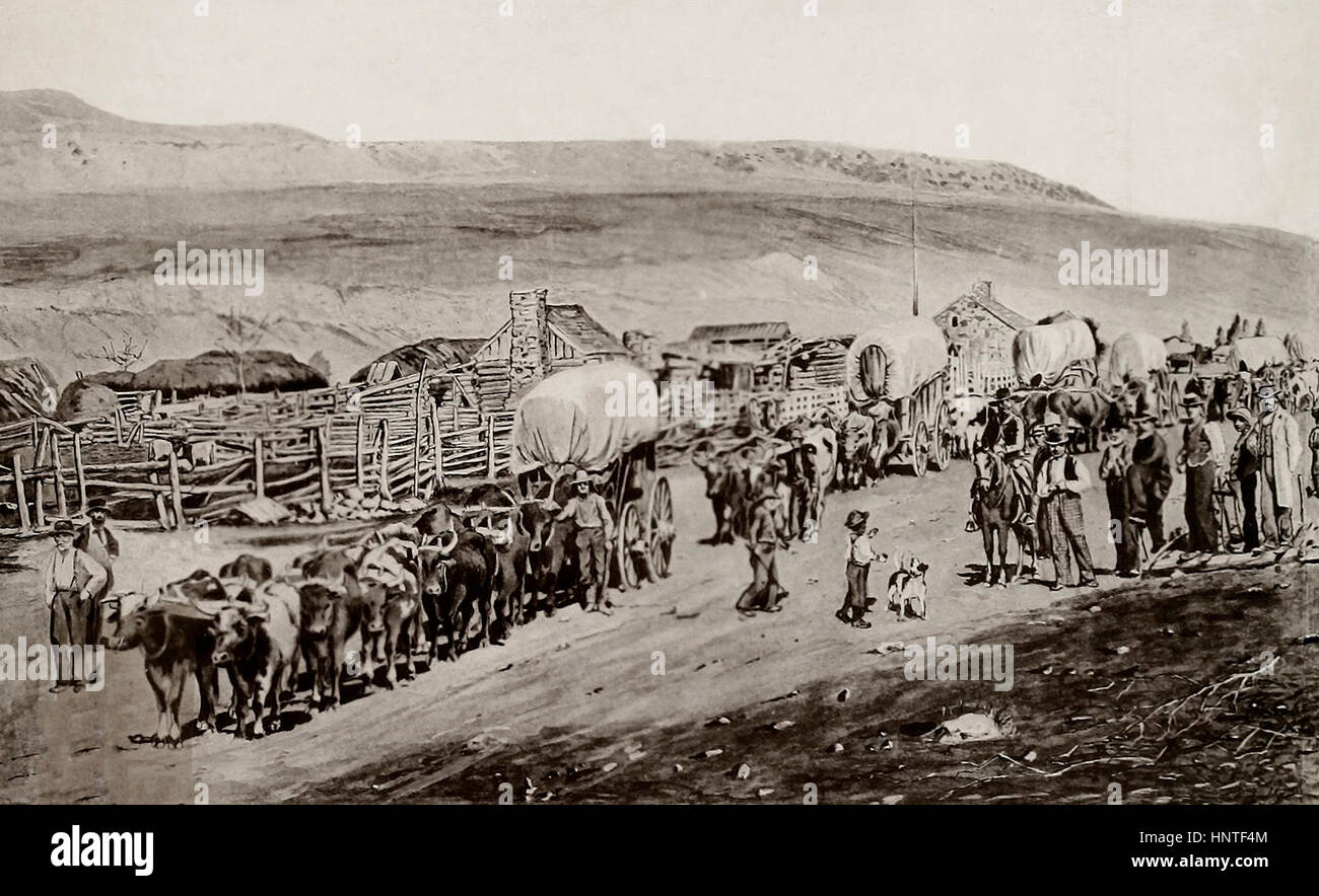 A Mormon Emigrant Train - Stock Image