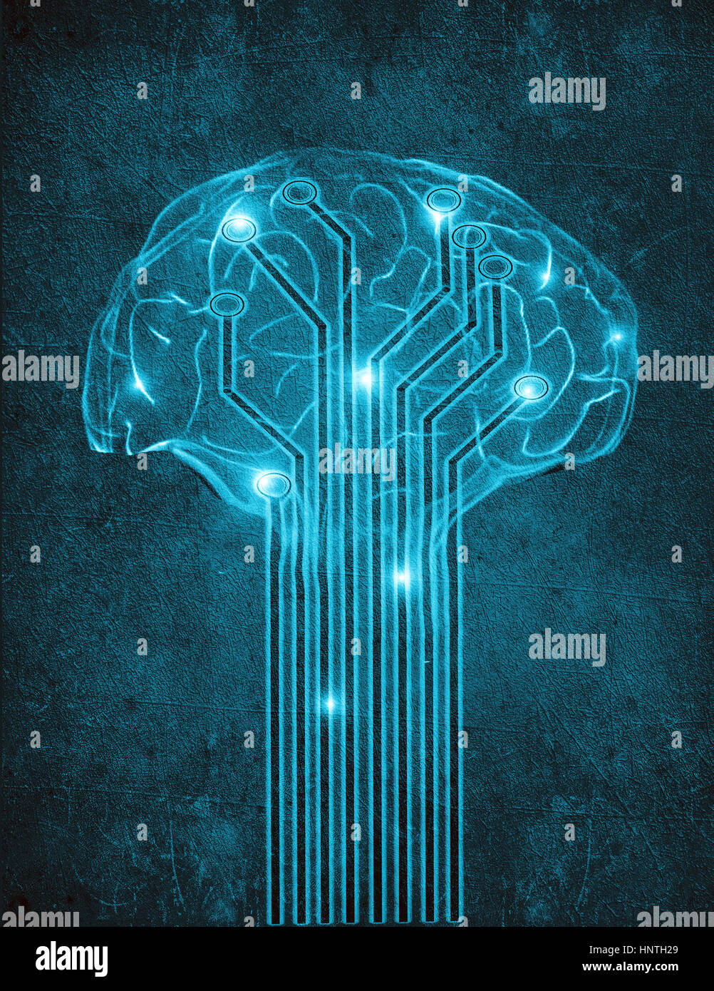 artificial intelligence digital illustration concept with brain - Stock Image