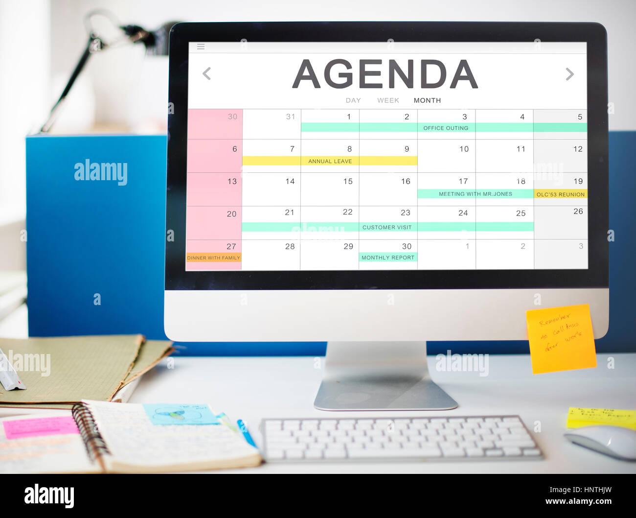 Calendar Agenda Event Meeting Reminder Schedule Graphic