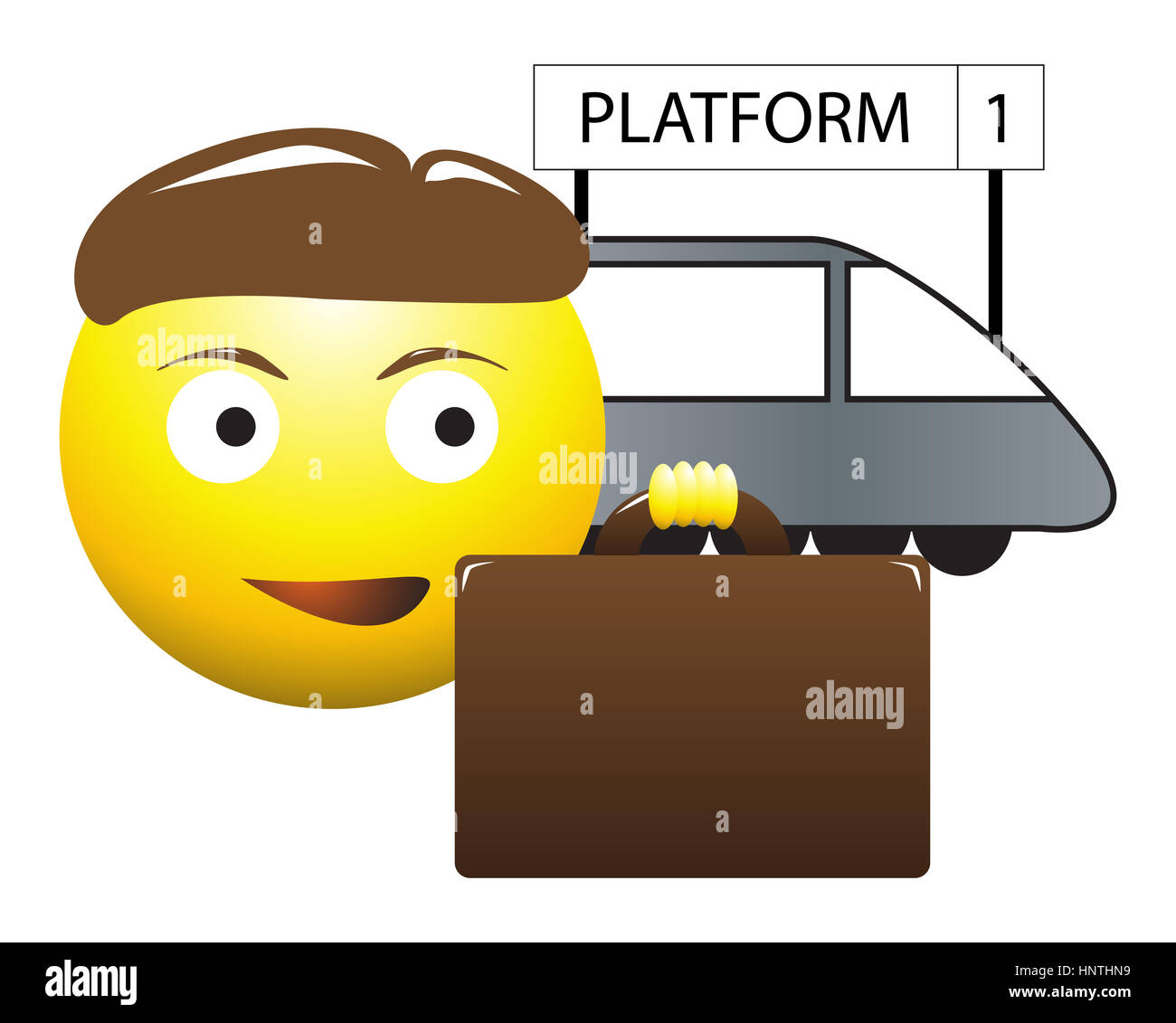 A commuter business man and train platform emoticon isolated on a white background - Stock Image