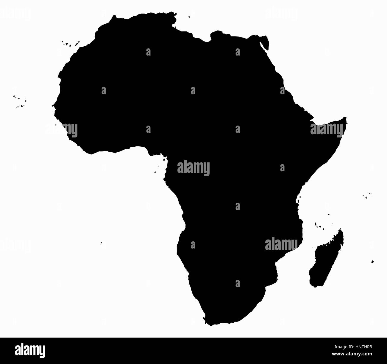 Good An Africa Map Silhouette Isolated On A White Background   Stock Image