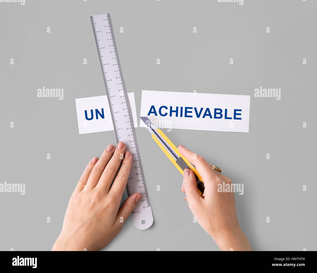 Unachievable Unsuccessful Hands Cut Word Split Concept - Stock Image