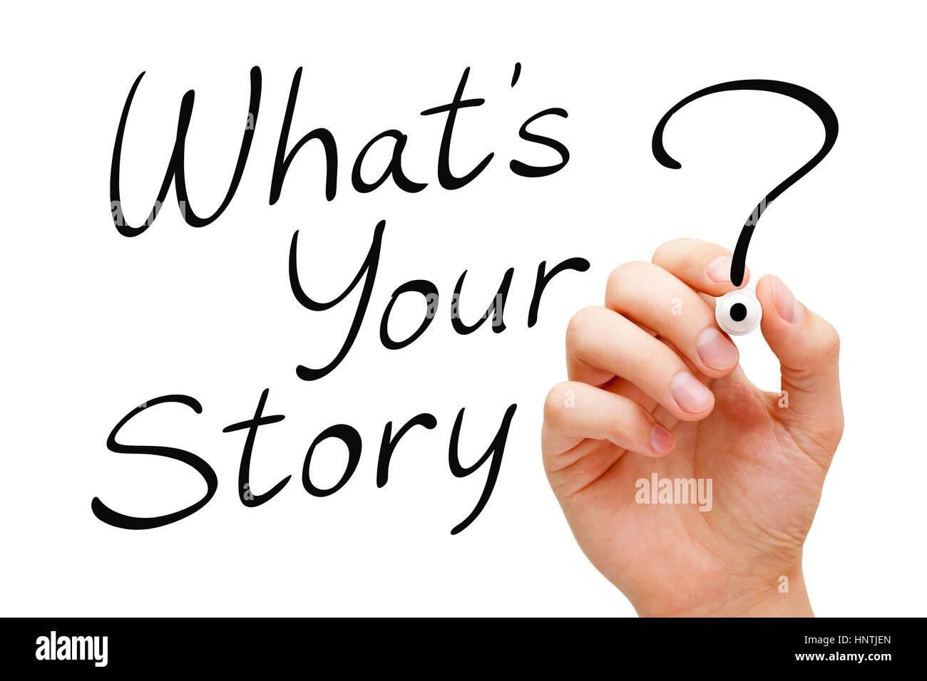 Hand writing What Is Your Story with black marker isolated on white. - Stock Image