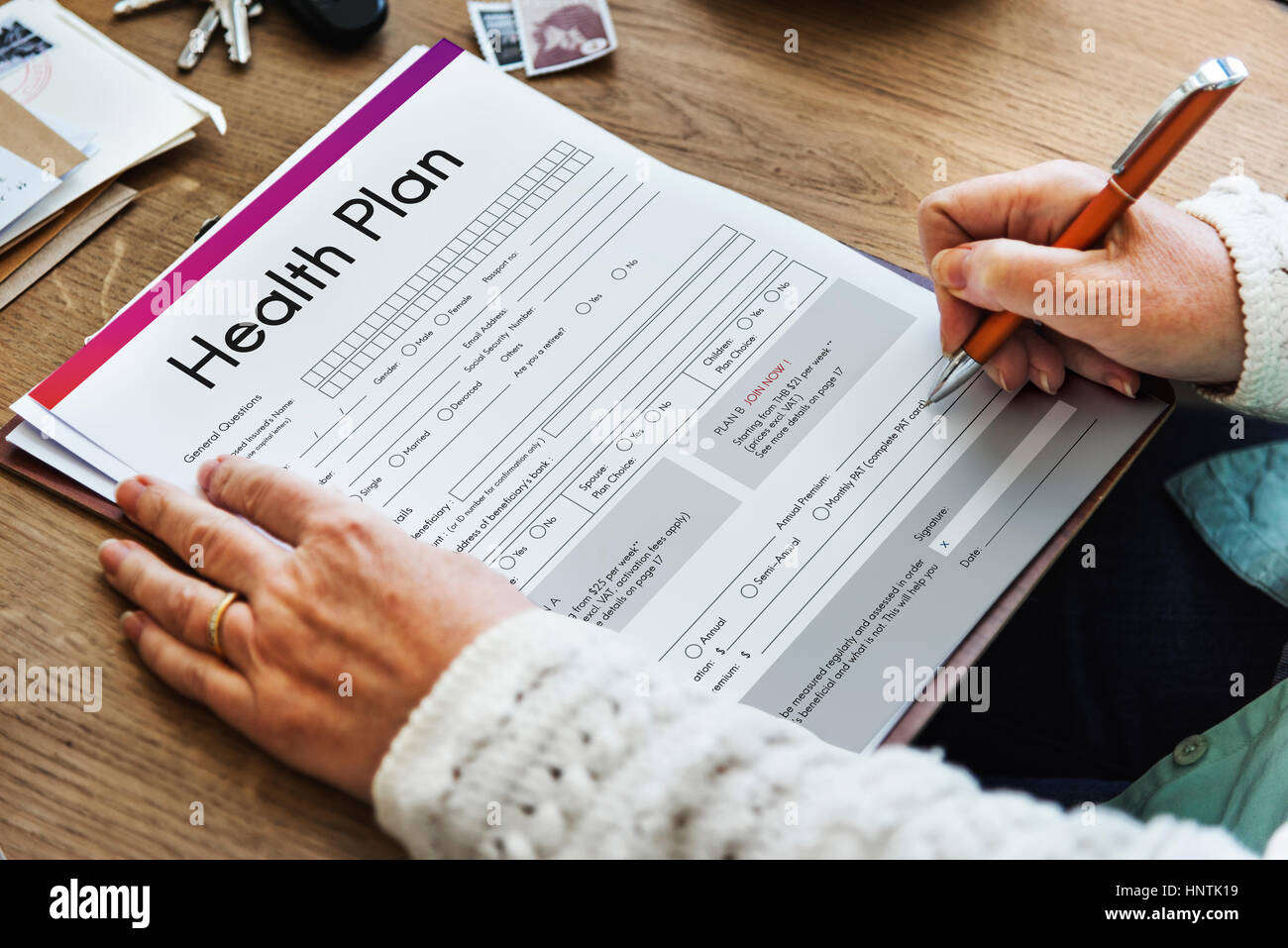 Health Plan Treatment Medical Document Form Concept - Stock Image