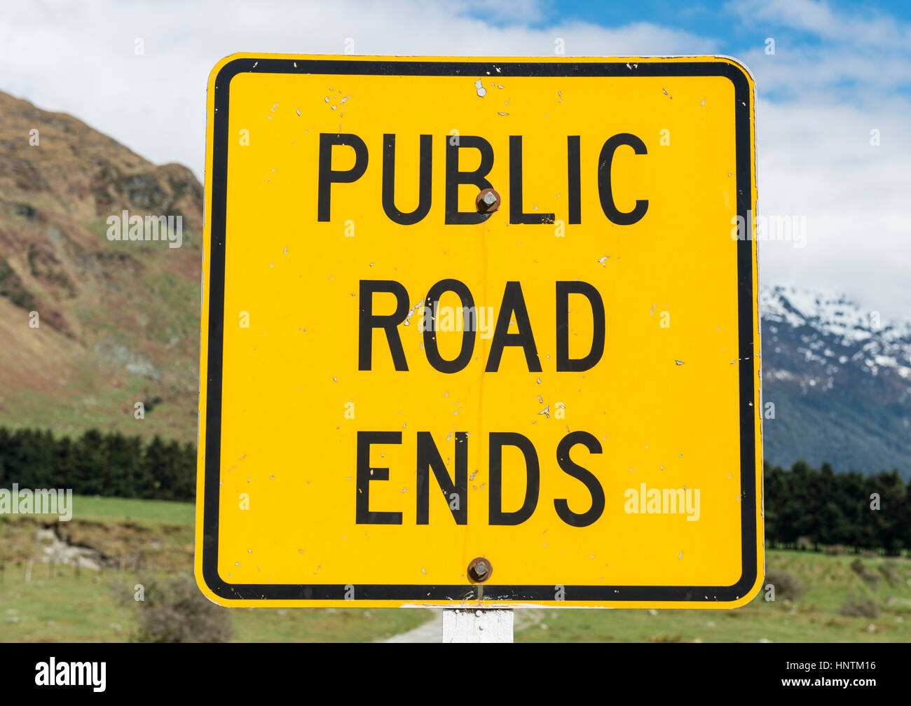 Sign, Public road ends, Mount Aspiring, Otago, New Zealand - Stock Image